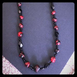 Red and black beaded long necklace
